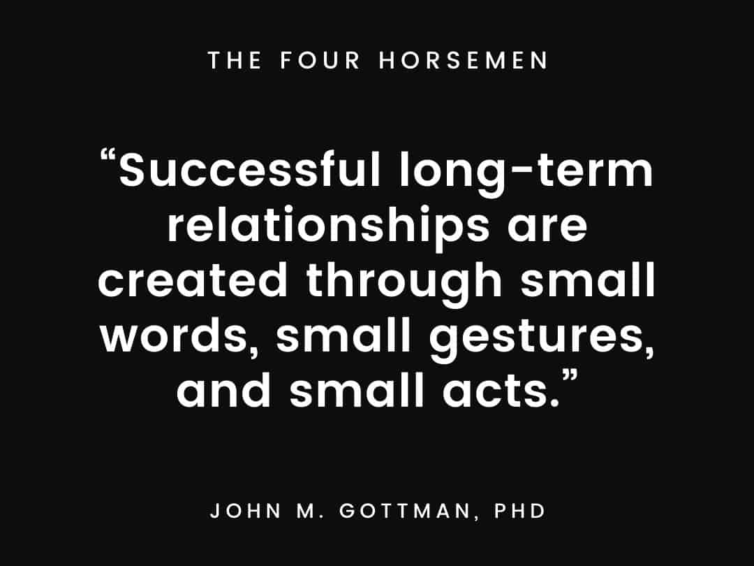 """""""Successful long-term relationships are created through small words, small gestures, and small acts."""""""