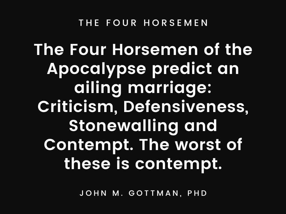 The Four Horsemen of the Apocalypse predict an ailing marriage Criticism, Defensiveness, Stonewalling and Contempt. The worst of these is contempt.