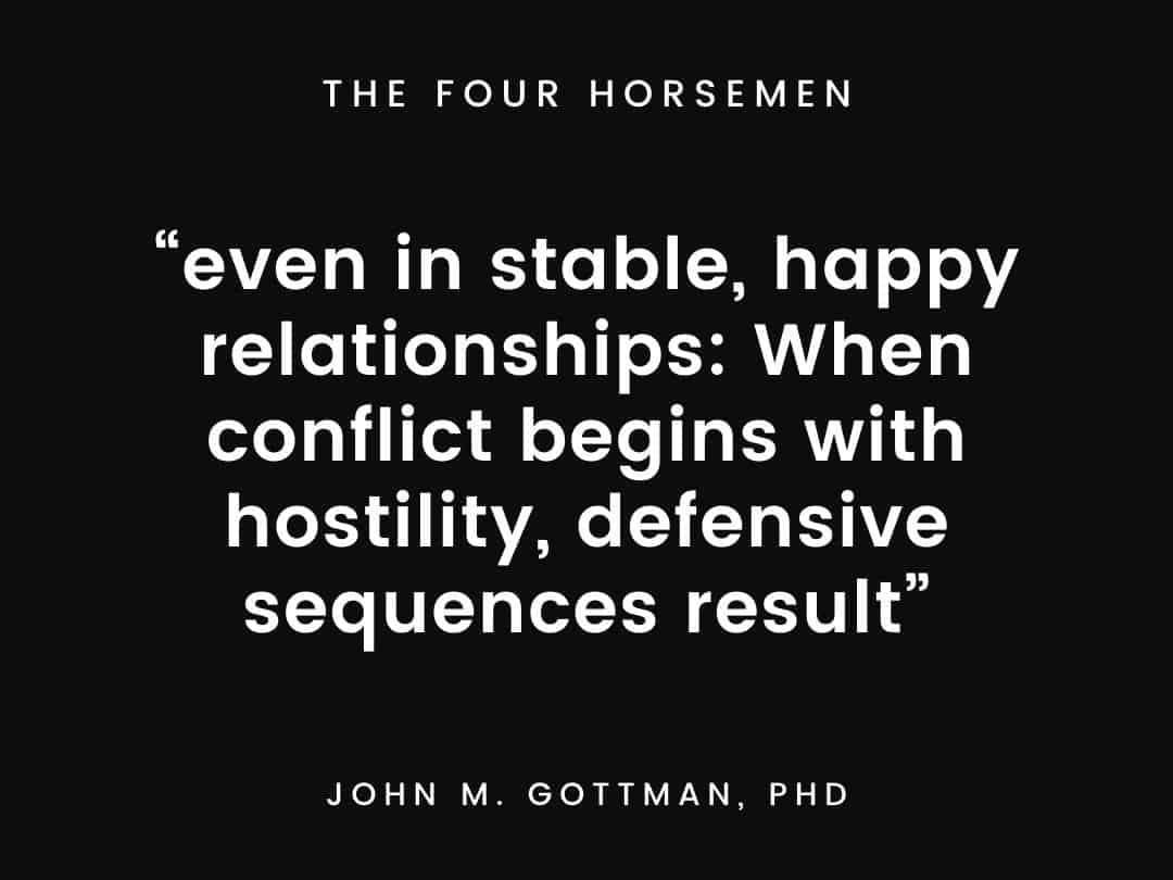 """""""even in stable, happy relationships When conflict begins with hostility, defensive sequences result"""""""